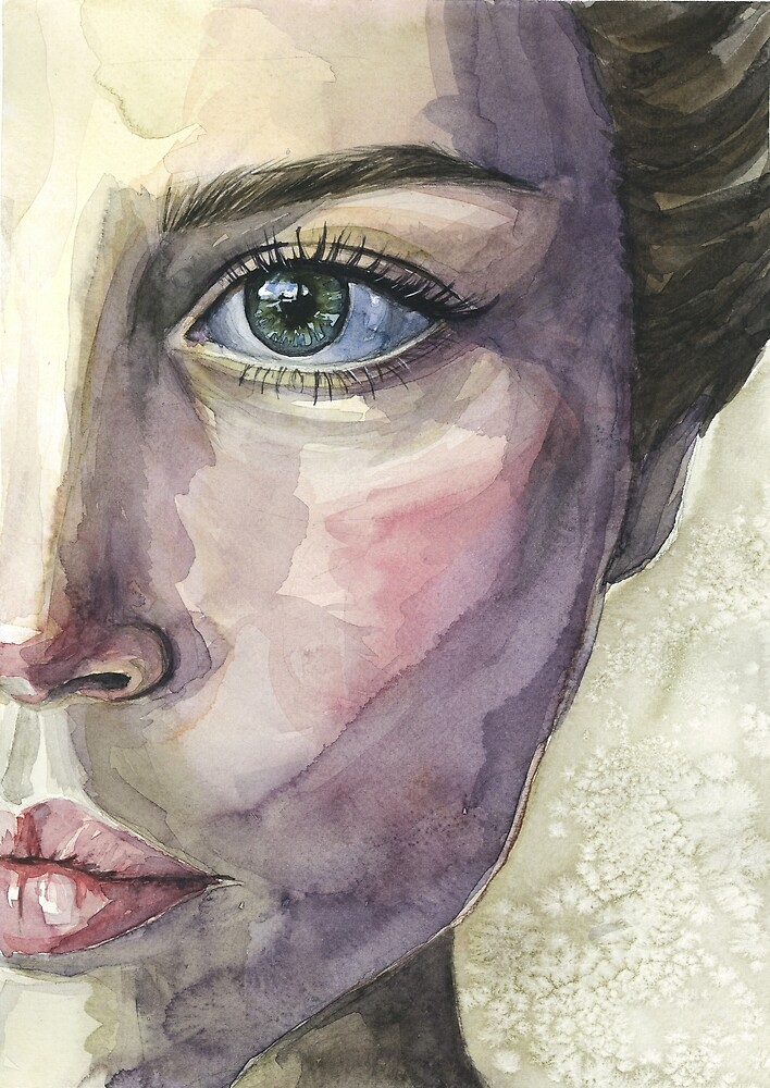 woman watercolor portrait - close up eye and lips by olgagolovizina