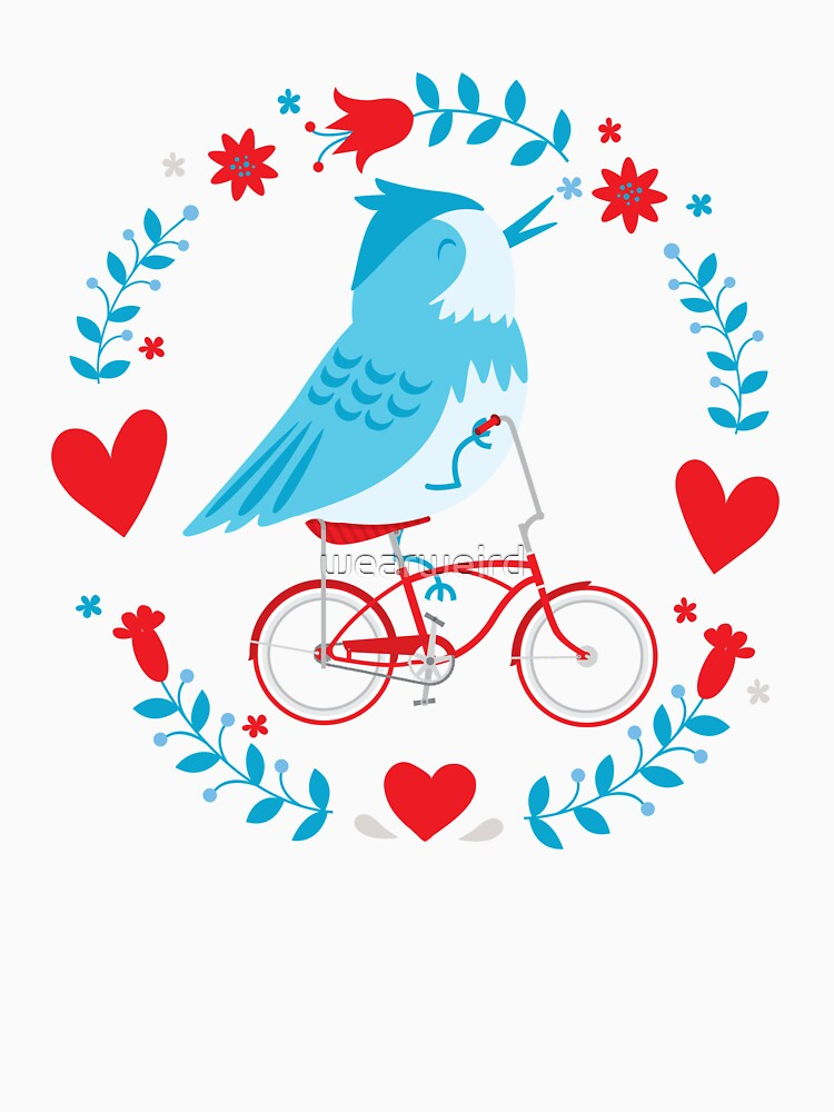 Cute Blue Bird Riding a Red Retro Bicycle by wearweird