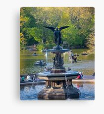 Central Park Water Fountain New York NY Canvas Print