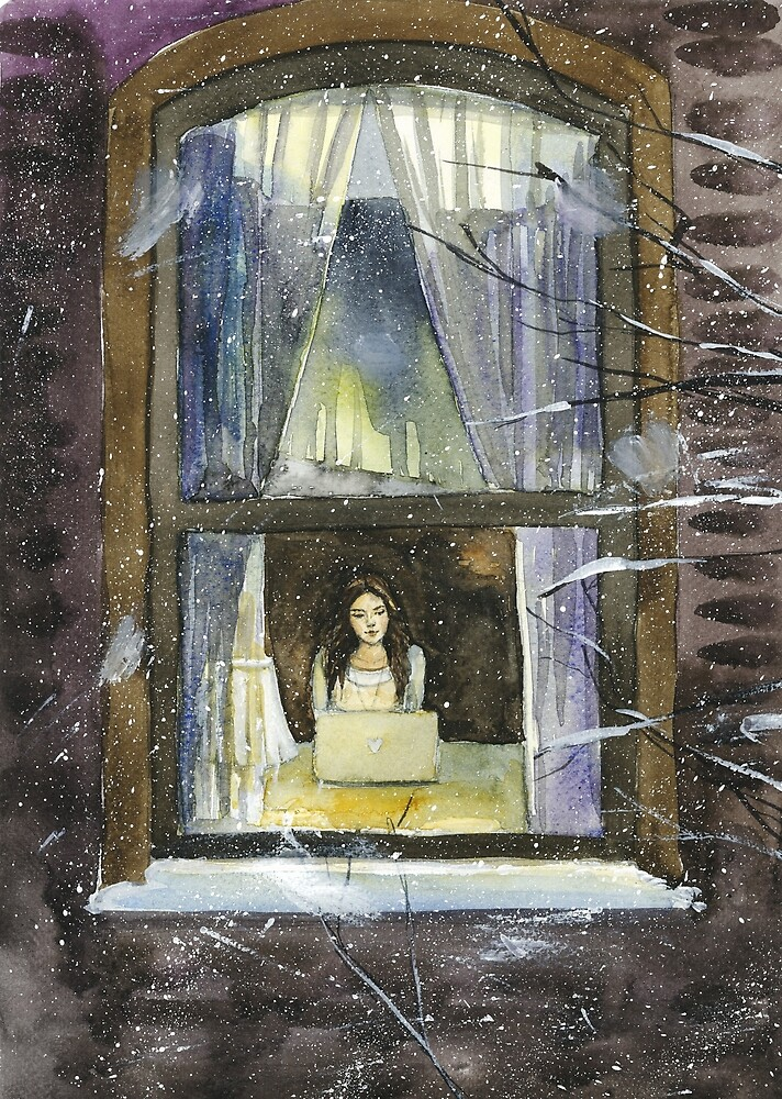 girl with a laptop - winter in New York watercolor illustration by olgagolovizina