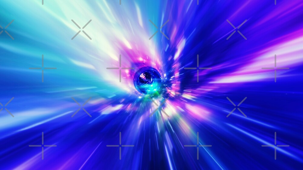 Interstellar, time travel and hyper jump in space. Flying through wormhole tunnel or abstract energy vortex. Singularity, gravitational waves and spacetime concept. by dani3315