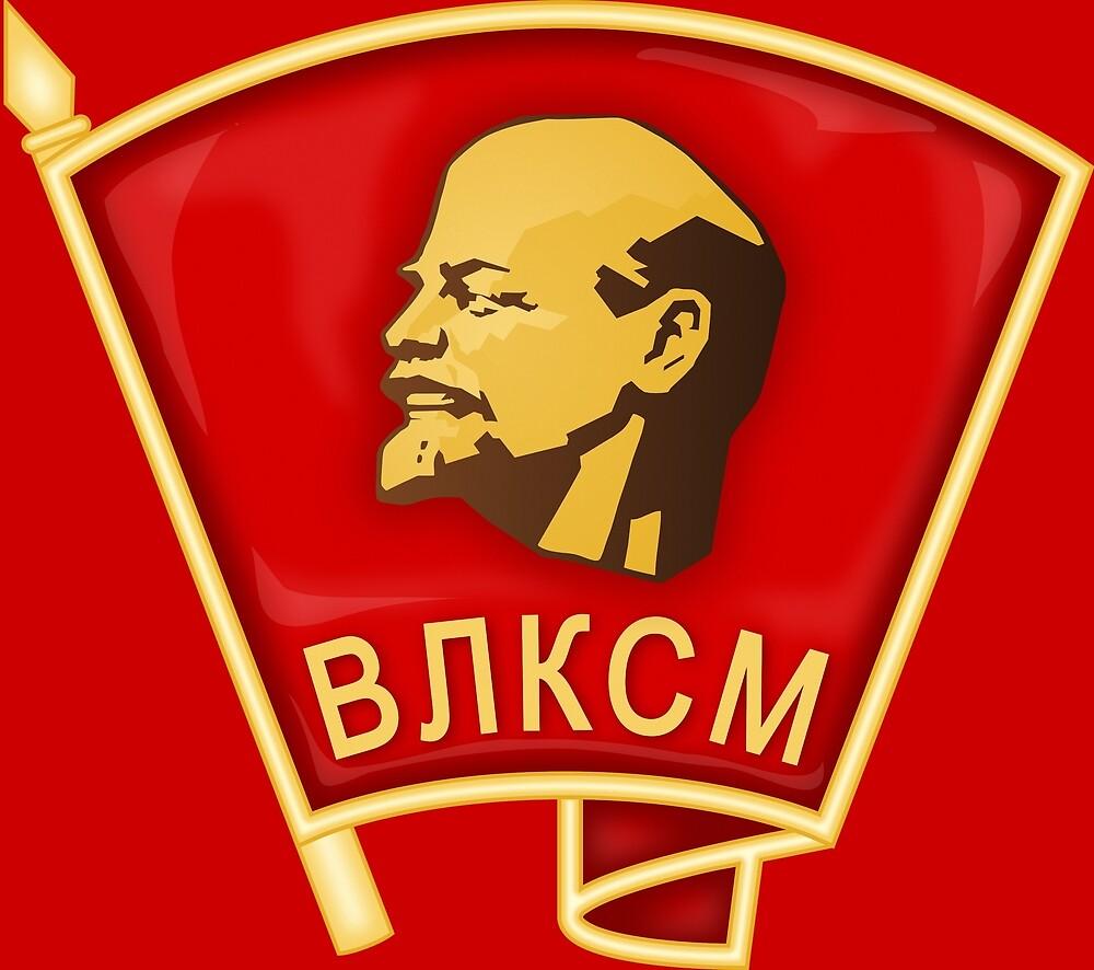 Komsomol badge sign symbol by Khokhloma