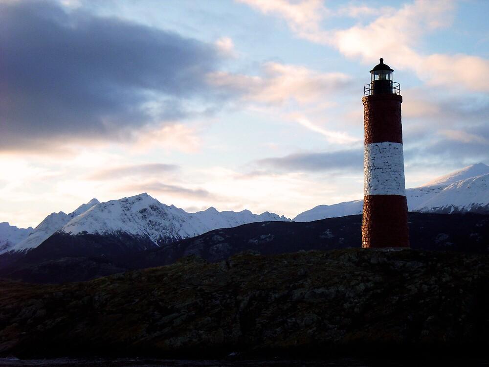 Lighthouse overlooking the Beagle Channel, Ushuaia by Elaine Stevenson
