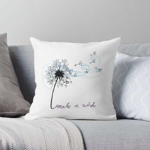 Make A Wish Dandelion Flower Art Design Gift Throw Pillow