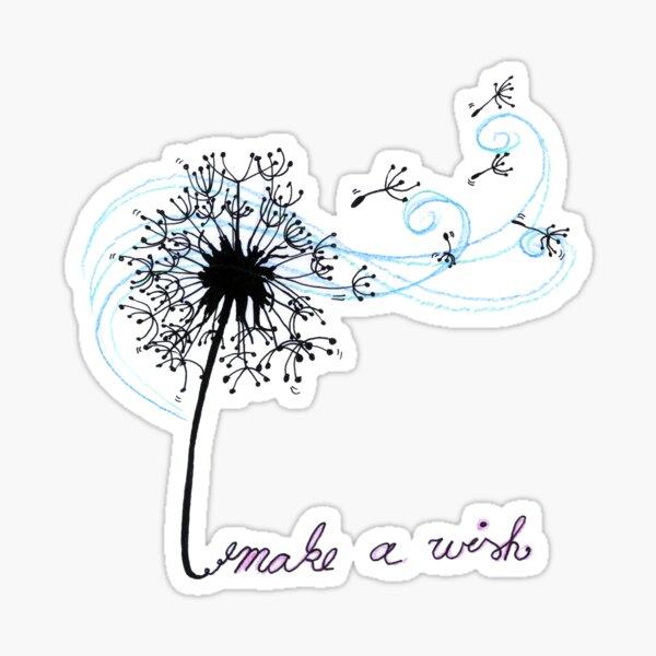 Make A Wish Dandelion Flower Art Design Gift Sticker