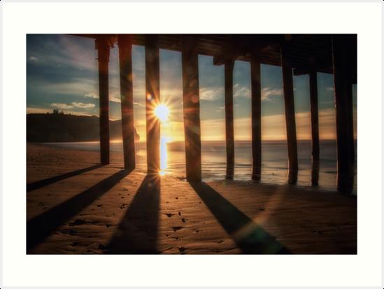 Through the Blinds the sun bursting off Avila Pier Avila Beach by MarniePatchett