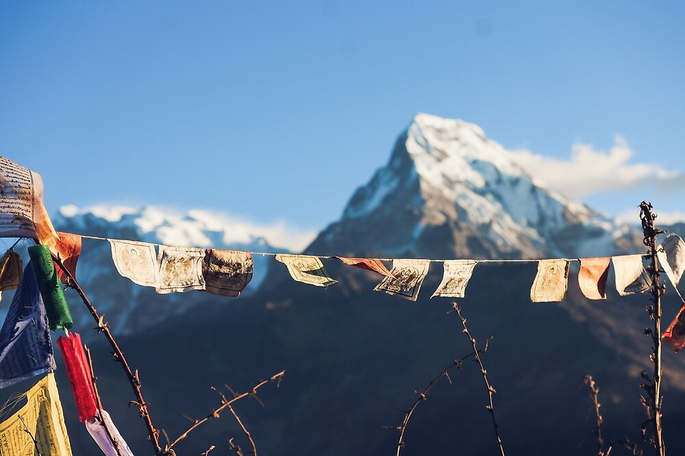 Buddhist prayer flags in Himalayas by To The Moon And Back