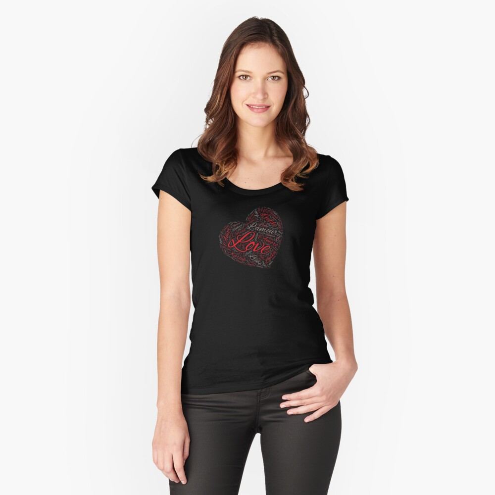Love In Every Language V-Day Heart Shaped Word Cloud Shirt Women's Fitted Scoop T-Shirt Front