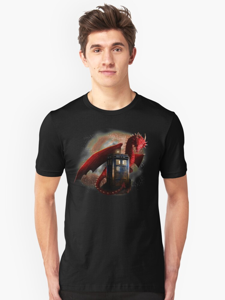 Blue Phone Booth at Dragon Nest Unisex T-Shirt Front