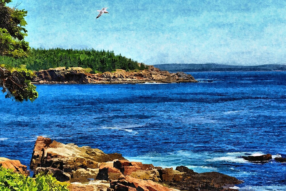 Rocky Maine Coastline 1 - Artistic by jtrommer