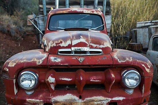 Jerome, AZ Junk Yard Ford V8 Red old Rusty Truck by WayneOxfordPh