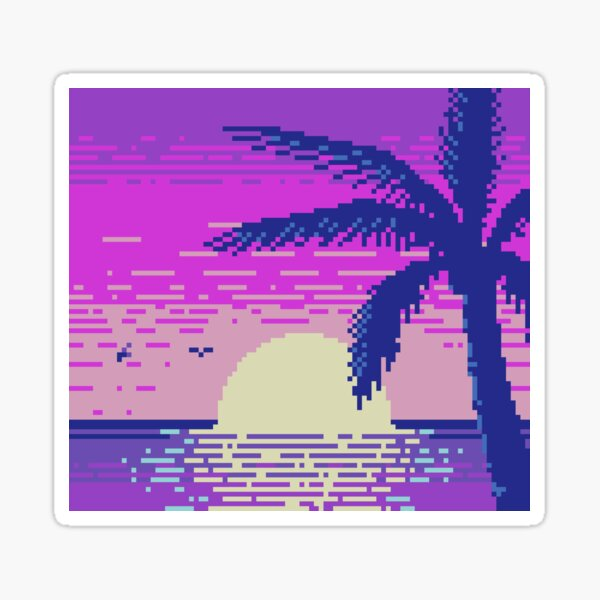 Pixel Sunset Sticker