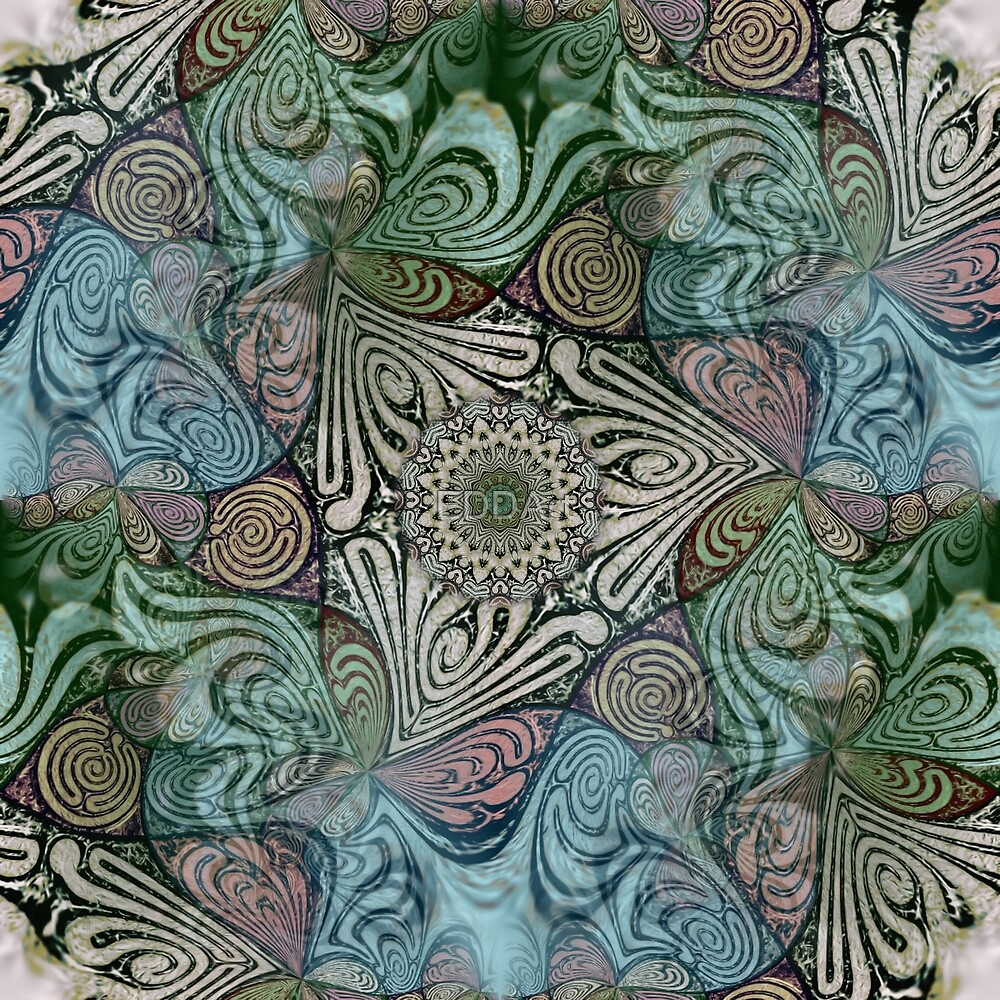 Labyrinth Mandala Fractal Pattern Blue Green Grey by EDDArt