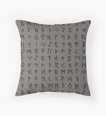 Futhark rune in grey Throw Pillow
