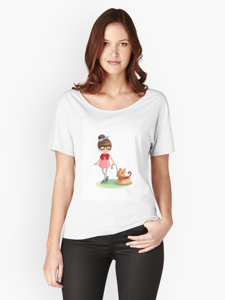 Girl with dog design Women's Relaxed Fit T-Shirt Front