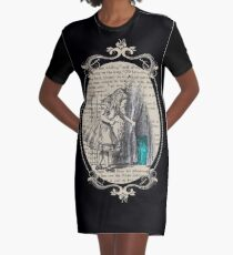 Follow The White Rabbit - Vintage Book Graphic T-Shirt Dress