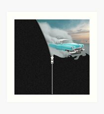 ZIPPER FUN - American Oldtimer Car Desert Sky Art Print