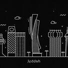 Jeddah Skyline Minimal Line Art Poster by A Deniz Akerman