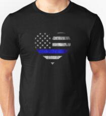 DÜNNES BLAUES LINIE-HERZ Unisex T-Shirt