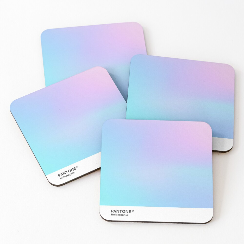 H.I.P.A.B - Holographic Iridescent Pantone Aesthetic Background 3 Coasters (Set of 4)