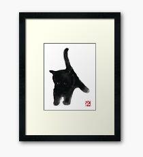 Sweet Black Kitty Card, Sumi-e Painting Illustration Asian Cat Kitten Zen Art Cute Summer Ink Drawing Dog Lover Framed Print