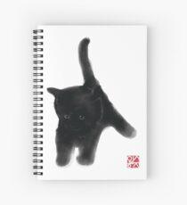 Sweet Black Kitty Card, Sumi-e Painting Illustration Asian Cat Kitten Zen Art Cute Summer Ink Drawing Dog Lover Spiral Notebook