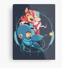 Mega Man and Rush Metal Print