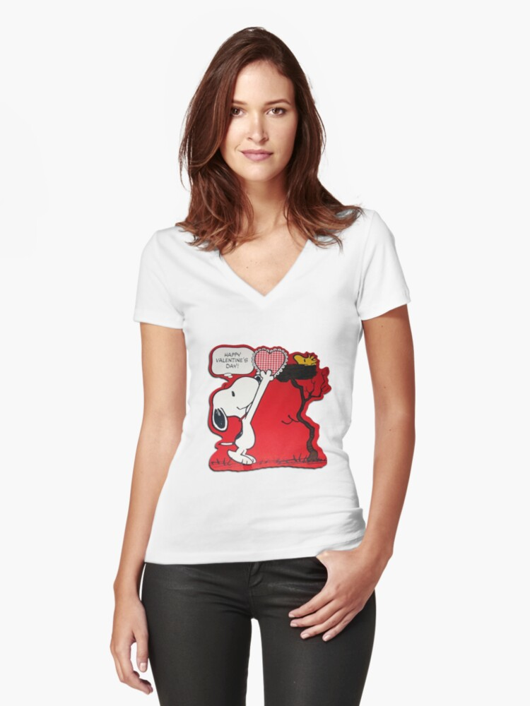 Snoopy And Woodstock Women's Fitted V-Neck T-Shirt Front