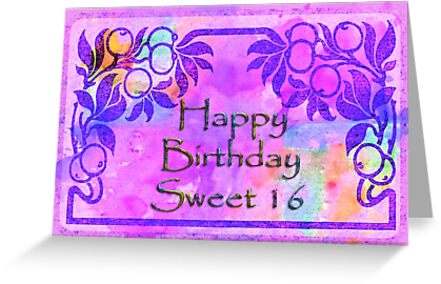 Happy birthday sweet sixteen greeting cards by vickie emms redbubble happy birthday sweet sixteen by vickie emms m4hsunfo