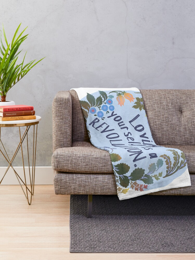 Alternate view of Loving Yourself Is A Revolution Throw Blanket