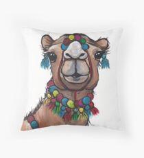 Camel with Tassels art, cute camel art Throw Pillow