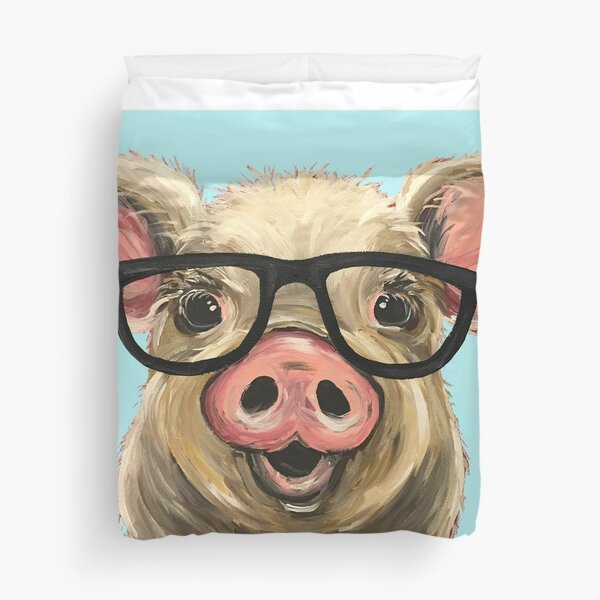 Cute pig with glasses art Duvet Cover