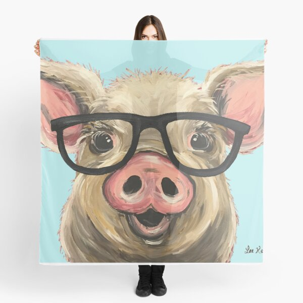 Cute pig with glasses art Scarf