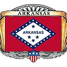 Arkansas Art Deco Design with Flag by Cleave