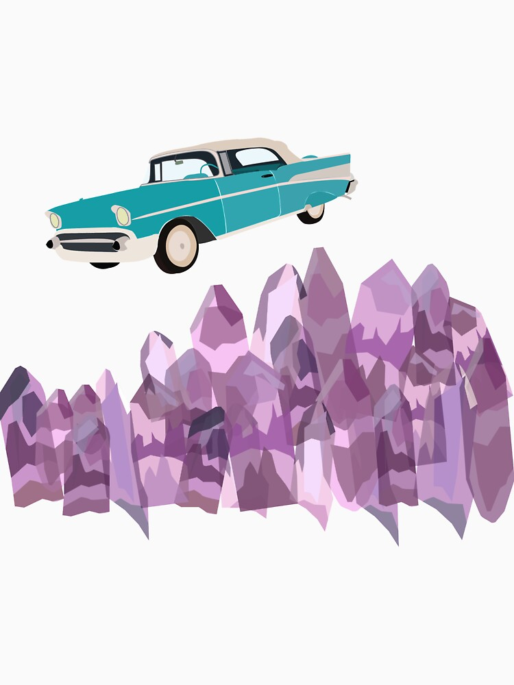 vintage, turquoise, flying car and amethyst crystals by izzysumardi