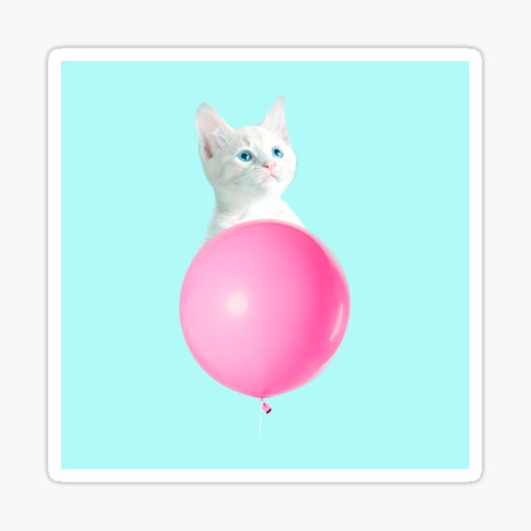 White Cat's Travel by Pink Balloon by Alice Monber Sticker