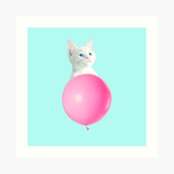 White Cat's Travel by Pink Balloon by Alice Monber Art Print
