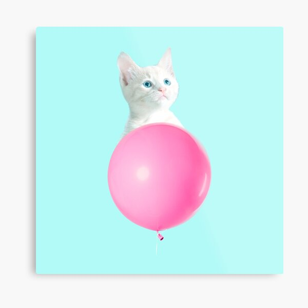 White Cat's Travel by Pink Balloon by Alice Monber Metal Print
