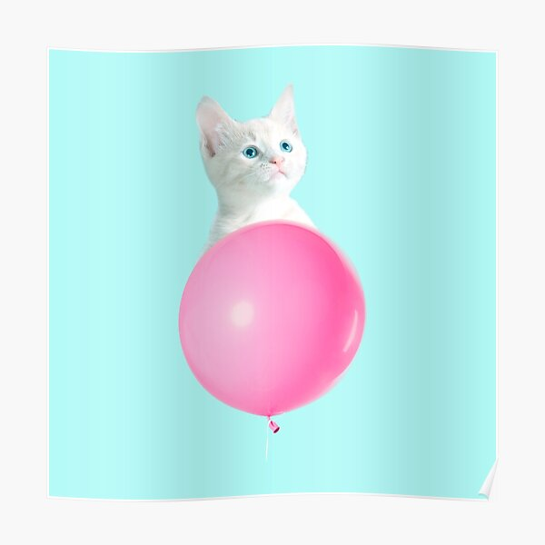 White Cat's Travel by Pink Balloon by Alice Monber Poster
