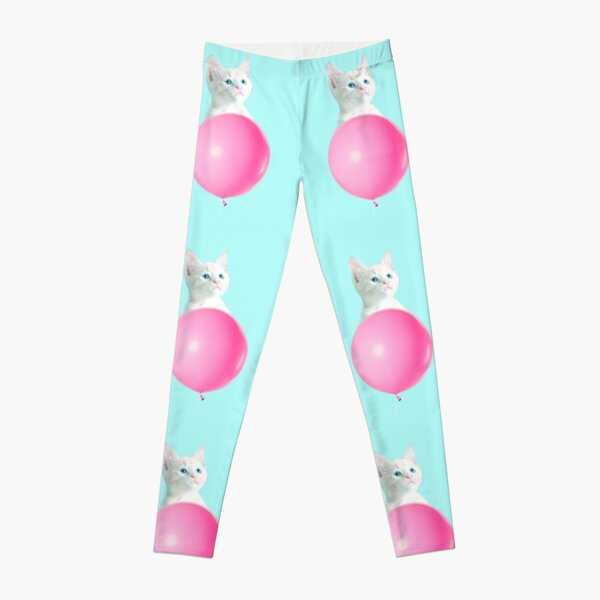 White Cat's Travel by Pink Balloon by Alice Monber Leggings