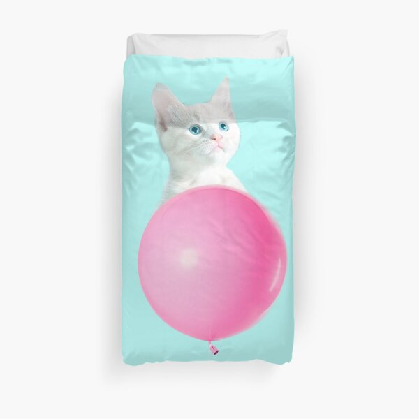 White Cat's Travel by Pink Balloon by Alice Monber Duvet Cover