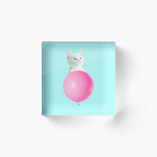White Cat's Travel by Pink Balloon by Alice Monber Acrylic Block