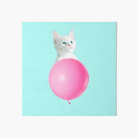 White Cat's Travel by Pink Balloon by Alice Monber Art Board Print