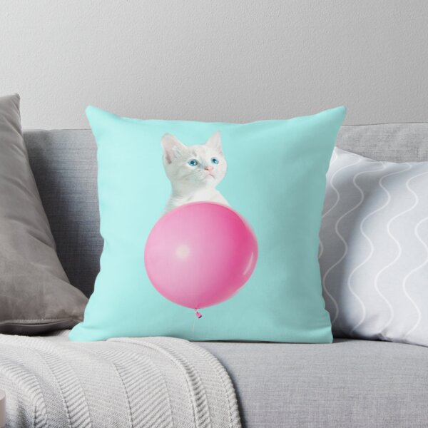 White Cat's Travel by Pink Balloon by Alice Monber Throw Pillow