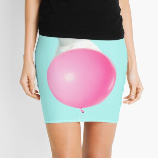 White Cat's Travel by Pink Balloon by Alice Monber Mini Skirt