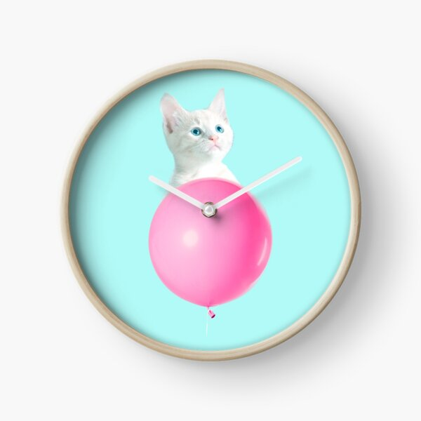 White Cat's Travel by Pink Balloon by Alice Monber Clock