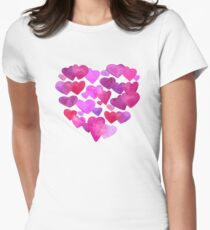 Valentine Day  romantic hearts Women's Fitted T-Shirt