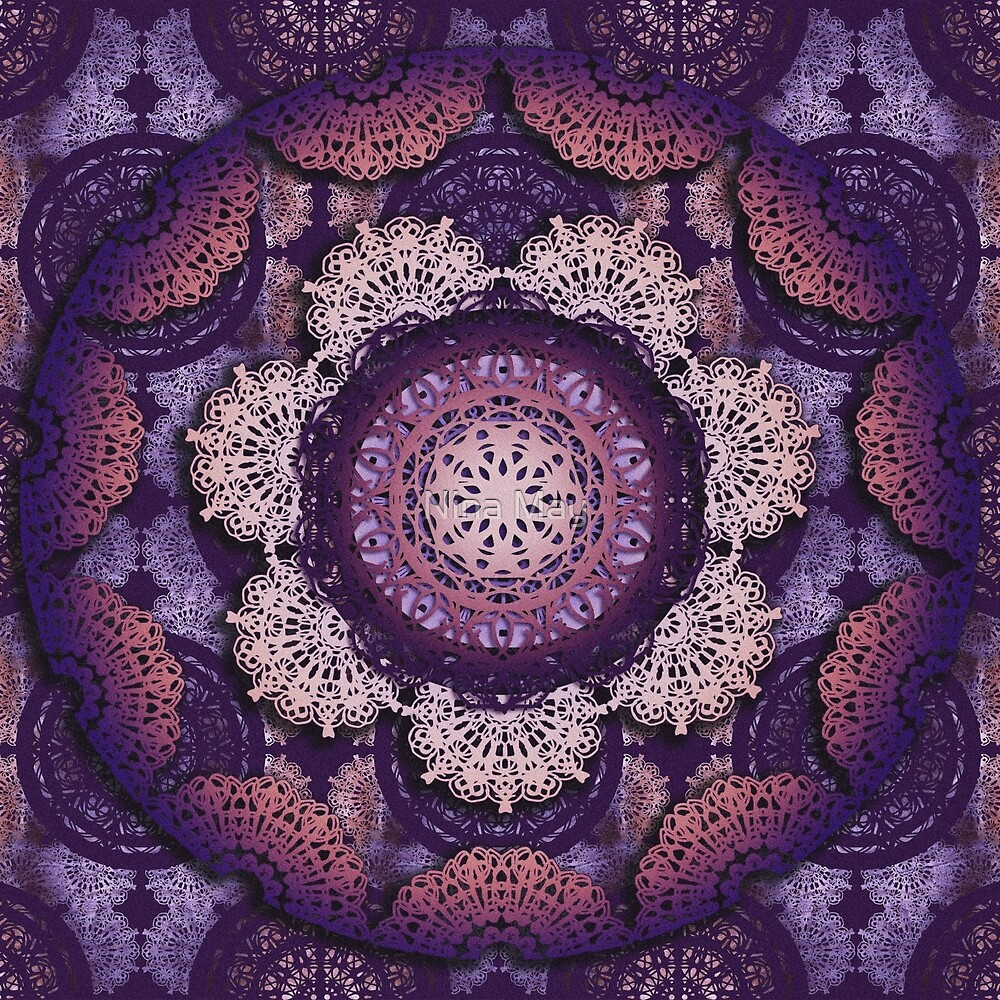 Violet Brocade Laced Mandalas by Nina May