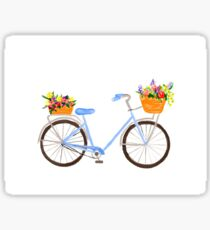 Watercolor Blue Cruiser Bicycle Sticker