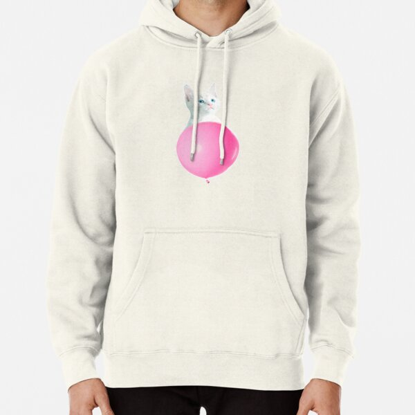 White Cat's Travel by Pink Balloon by Alice Monber Pullover Hoodie